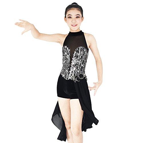 Tanz 2017 Kostüme Wettbewerb (MiDee Illusion Deep-V Mock Hals Zwei Drittel Rock Lyrisch Tanzen Kleid (MA,)