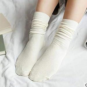 Sanzhileg Herbst-Winter-Weinlese-mittlere Mädchen-Frauen-Socken-Breathable Art und Weise beiläufige Reine Farben-Baumwollmittelsocken – Weiß
