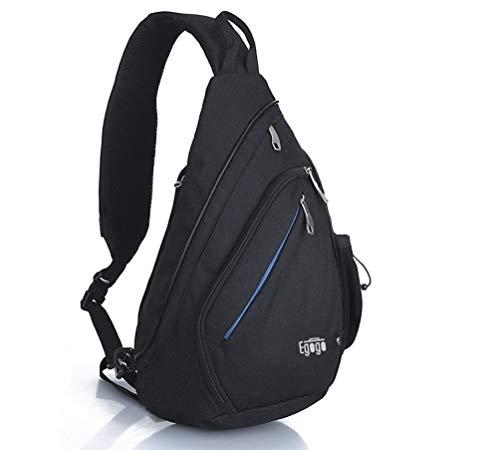 EGOGO Multifunktions Schultertasche Rucksack Crossbody Tasche Sling Tasche Wandern Dackpack ein sollte Schultergurt für Männer und Frauen (Black)