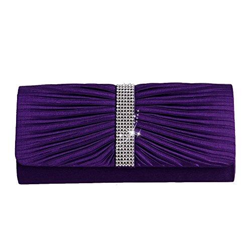 Dairyshop Mode Satin Diamante gefaltete Abend Clutch Bag Party Handtasche Braut Geldbörse Lila