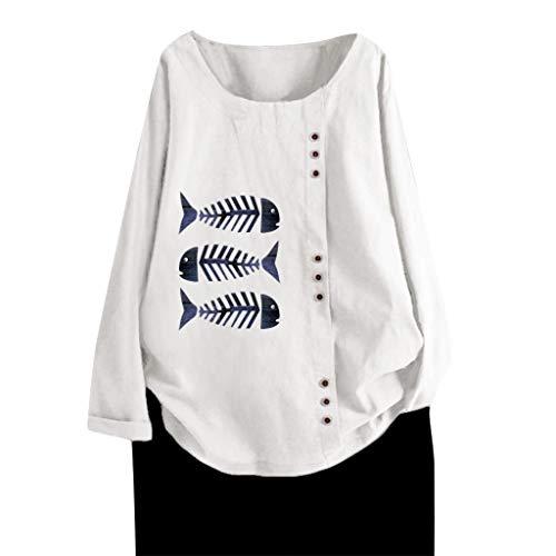 LRWEY Bluse Casual Top Loose Button Leinen Plus Size Täglich Boho Tanic T-Shirt Bluse Tops Lange Ärmel Festliche Tunika Outwear Hoodie Tank Tops Pullover Sweatshirts Kapuzenpullover
