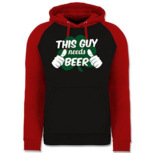 St. Patricks Day - This Guy Needs Beer Kleeblatt - XXL - Schwarz/Rot - JH009 - Baseball Hoodie (Guy Kostüme Ideen)