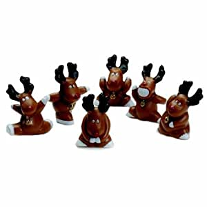 Anniversary House Fun Rudolph Cake Decorations (Pack of 6)