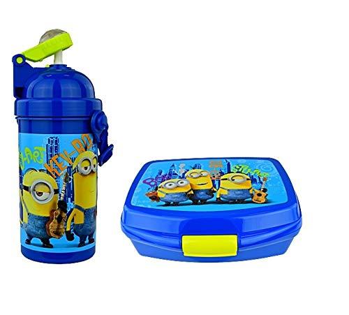 Minion Ich Einfach Unverbesserlich Set Brotdose + Flasche Set Schule Kindergarten Sport Frühstückset Pausenset Stuart, Kevin, Bob