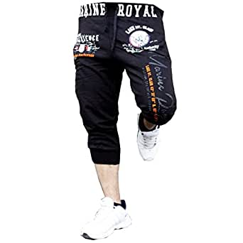 Herren Schorts Sweat-shorts Unisex Caprihose Cargo shorts bermudas jogginghose (XL, Schwarz)