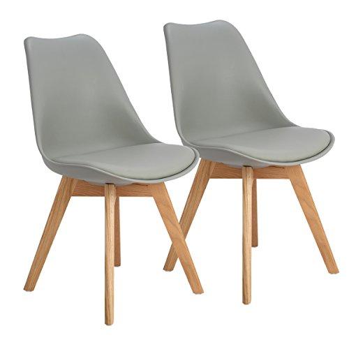 EGGREE 2er Set Esszimmerstühle Skandinavisch Küchenstuhl Stühle Modern mit Massivholz Eiche Bein und Kunstlederkissen, Grau (Moderne Büro-möbel)