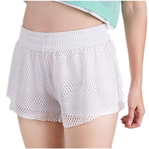 FJJBHSD Hosen Zweiteilige Sporthose aus Netzgewebe mit doppelter Schicht Anti-Going-Fitness und Fünf-Punkte-Yogahose, weiblich, weiß L