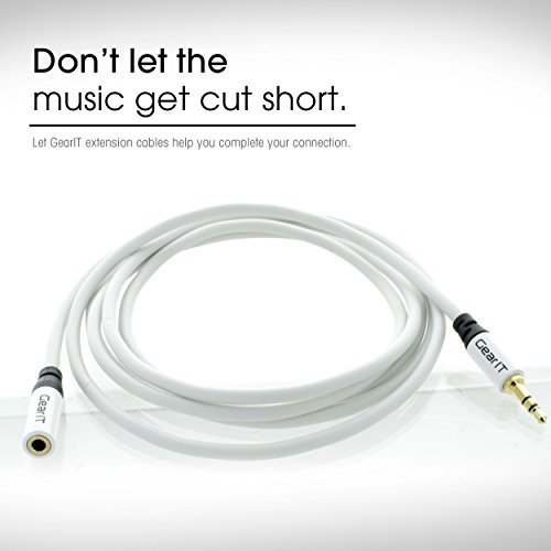 GearIT 3.5 mm stereo audio Extension Cable – 3.5 mm Auxiliary Gold Plated Male to Female Audio Jack – Step Down Design for iPhone, iPod, smartphone, tablet and MP3 Cases 15ft (White)
