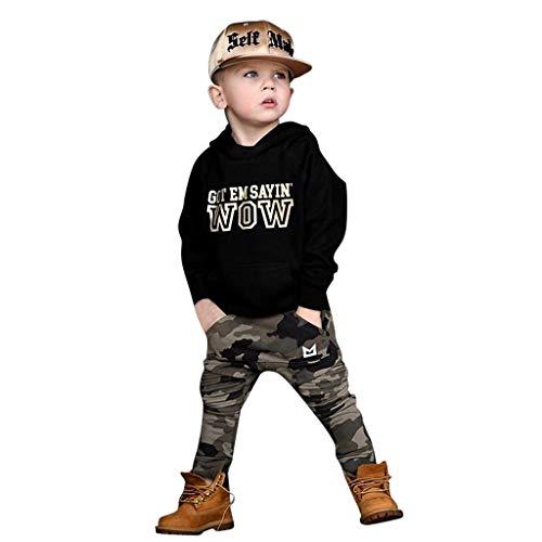 Jaysis Baby Jungen Cool Kapuzenpullover + Camouflage Hose Langarm-Pullover Cute Outfit Set Kleidung Sweatshirt Warm Babyausstattung Leichtes Baumwollmischungsmaterial