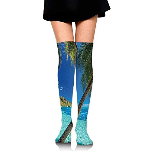 OQUYCZ Women's Image of A Tropical Island with The Palm Trees and Clear Sea Beach Theme Print Fashion High Boot Socks