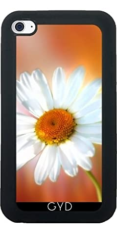 Silicone Case for Ipod Touch 4 - White Marguerite Floral