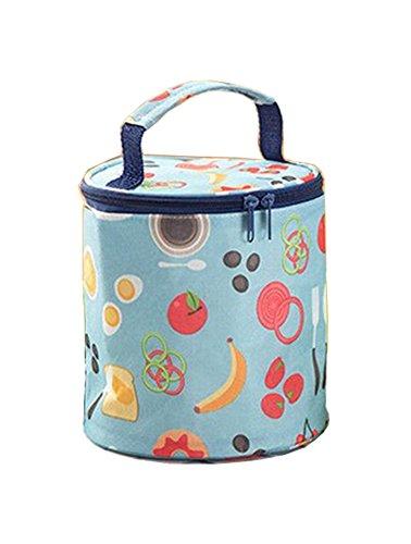 Foluton Kühltasche Tasse rund Lunchtasche Mittagessen Tasche Gabel Thermotasche Isoliertasche Picknicktasche für Lebensmitteltransport Schule und Arbeit (Womens Klassischen Elementen)