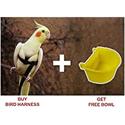 Pawzone Pet Bird Harness For Small Birds & Cockatiel Bird + Free Bowl (Color May Vary)