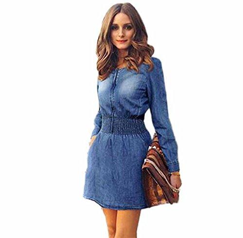 FEITONG Las mujeres del resorte de la vendimia Casual manga larga delgada Mini vestido de mezclilla Partido Jeans, Small, Azul