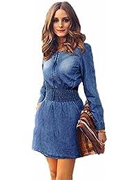 FEITONG Las mujeres del resorte de la vendimia Casual manga larga delgada Mini vestido de mezclilla Partido Jeans