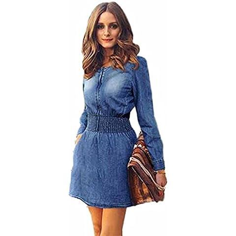 FEITONG Las mujeres del resorte de la vendimia Casual manga larga delgada Mini vestido de mezclilla Partido