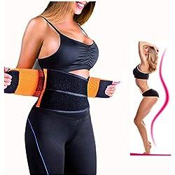 ZSZBACE Femme et Homme Ceintures de Sudation Serre Taille Corset Sculptant Cincher réglable Belt Body Shaper (s-XXL Orange) (L)