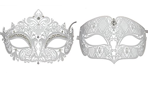 Paar der venezianischen Masquerade Maske Set Luxus Style Princess Party Maske (Gold Kostüm Halloween Kleid White)