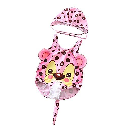 Kinder Mädchen Badeanzug Baby-Jungen-Mädchen-nette kleine Blumen-Leopard-Muster-einteiliger Badeanzug-Schwimmen-Hut-Karton-Badebekleidungs-Badeanzug Cosply-Kostüm Netter bunter Schwimmen-Kostüm-Badean