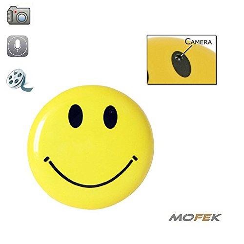 Mofek - Smiley-Anstecker mit versteckter Spionagekamera - Echtzeit - inklusive Speicherkarte mit 8 GB