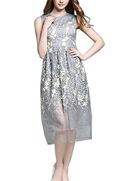 HJMTRY Damas sin mangas de hilo de encaje bordado vestido , picture color , xl