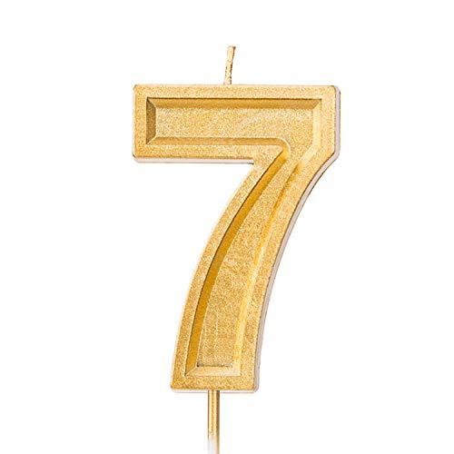 LUTER 2,76 Pulgadas Cumpleaños Grande Velas de Oro Cumpleaños con Purpurina Pastel De Velas Número de Velas Topper de la Torta Decoración para Fiesta de Bodas Niños Adultos (Número Grande 7)