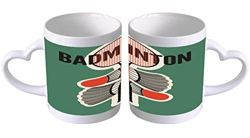 LEotiE SINCE 2004 Kaffeetasse mit Herzgriff Kaffeebecher Becher Tasse Mit Fotodruck Fototasse Nostalgie Badminton Herz Griff