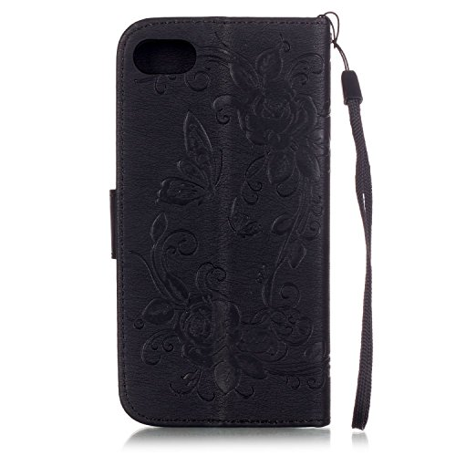 iPhone Case Cover Dual Side Embossed Blumen Schmetterling Fall Deckung Wallet Stand Case mit Handschlaufe für iPhone 7 ( Color : Black , Size : IPhone 7 ) Black
