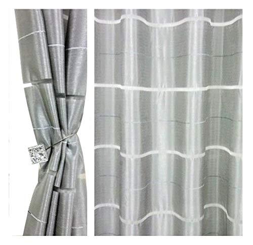 Fkl tenda semitrasparente con occhielli, tenda decorativa per finestre, motivo a righe, set di 2 tende con occhielli 145 x 245 cm agv (v25)