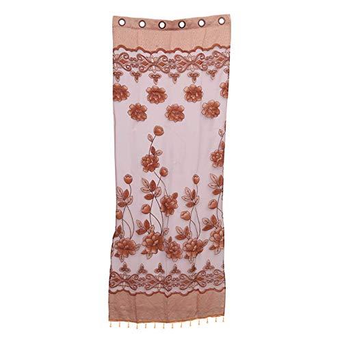 chungeng Erschwinglicher 1pc Heim Textil Blumen Bestickt 3D Voile Gardine Stoff Tüll Durchsichtig Vorhänge für Schlafzimmer Wohnzimmer für Heim Dekoration - 1 Meter zu 2.5 Meter Plus Perlen (Braun)