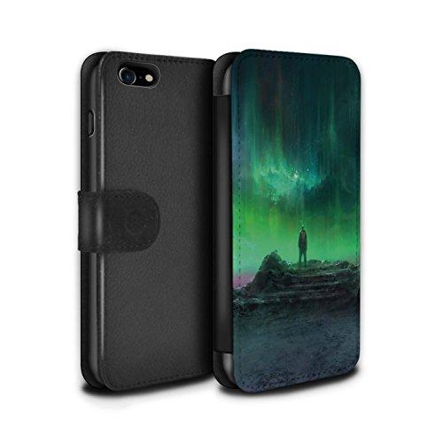 Offiziell Chris Cold PU-Leder Hülle/Case/Tasche/Cover für Apple iPhone 8 / Saphir Spitzen Muster / Fremden Welt Kosmos Kollektion Polarlicht