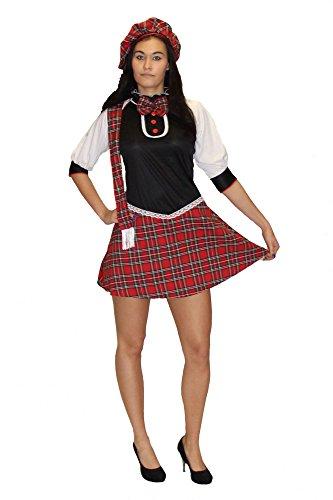 Foxxeo 40022   Sexy Schulmädchen Kostüm für Damen   Größe XS, S, M   Schottin Schottenkostüm Damenkostüm Rock Minirock, ()