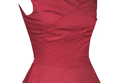 ILover candy couleur cru balancer rockabilly cercle complet 50s robe cocktail en soirée WineRed