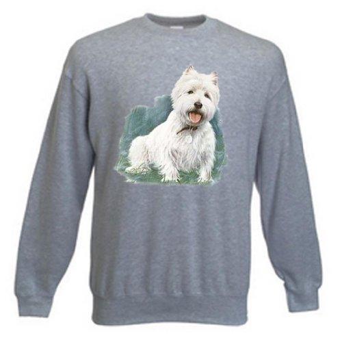 Simply Tees Einfach Tees West Highland Terrier von millen Kind Sweatshirt Gr. 44, Grau Meliert (Highland Sweatshirt West Terrier)