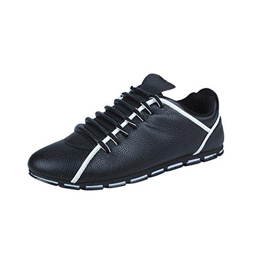(EU39-EU46 ODRD Schuhe Mode Männer Casual Leder Bequeme Atmungsaktive Turnschuhe Flache Stiefel Stiefeletten Wanderstiefel Combat Hallenschuhe Worker Boots Laufschuhe Sports)
