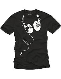 Coole Dj T-Shirts mit KOPFHÖRER schwarz Größe S-XXXL