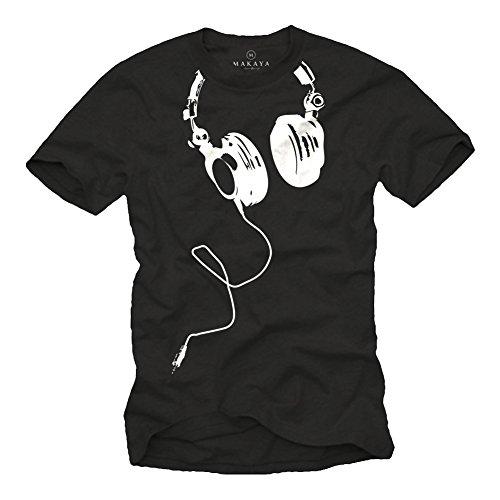 Coole Dj T-Shirts mit KOPFHÖRER schwarz Größe XL