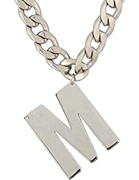 MUCH MORE Stunninng Alphabet 'M' Letter Silver Plated Pendant With Chain Necklace Jewellery For Unisex
