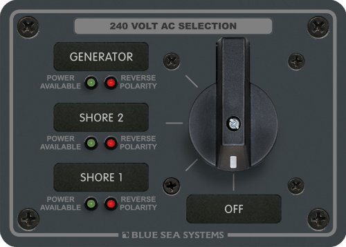 Blue Sea - 8361 Ac Rotary Switch Panel 65 Ampere 3 Positionen Aus, 3-polig Ac Rotary Switch Panel