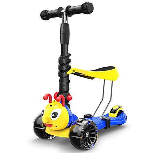 WYQ Tretroller für Kinderroller mit PU-Blinkrädern, verstellbarem Lenker und Sitz, Kinder Kinder Roller (Farbe : Blau)