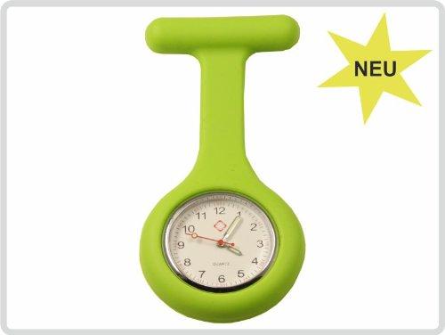 Schwesternuhr, Krankenschwesteruhr, Pulsuhr, Kitteluhr, Pflegeuhr - Silikon mit Anstecknadel, Farbe: grün
