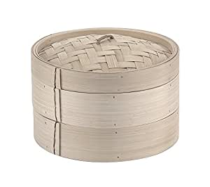 Paderno 49603-25 Cestello per Cottura a Vapore – Cuocivapore in Bambù con coperchio, 2 livelli, diametro 25 cm, colore naturale