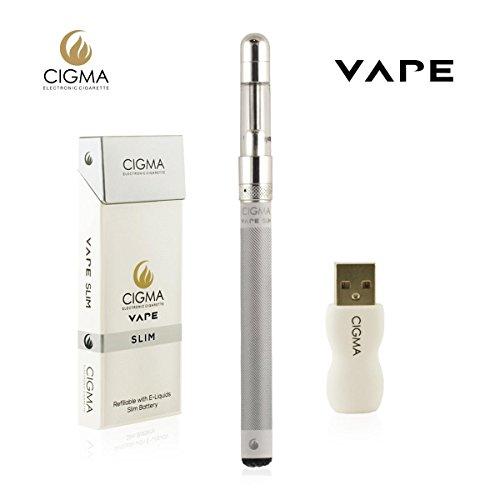 Cigma Vape Slim Weiß | Die Kleinste und Dünnste, Auflad- und Nachfüllbare E-Zigarette der Welt | E-Zigarette Starterset | E Shisha | Wiederaufladbare Batterie | Auffüllbar | Verdampfer - Shisha Welt