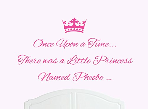 ONCE UPON A TIME THERE WAS A LITTLE PRINCESS LLAMADO PHEOBE GRANDE ADHESIVO DECORATIVO PARA PARED/DE VINILO CAMA HABITACION ARTE CHICA/BEBE