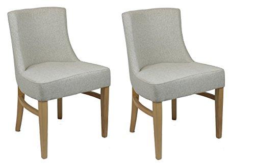 Meubletmoi Lot 2 chaises en Tissu Beige - Structure Bois de hêtre et Design Tendance - Assise Ultra Confortable - Sherlock