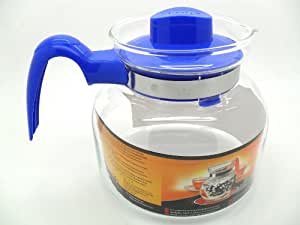 Termisil 1.3L Heat Resistant Borosilicate Glass Tea Coffee Pot Jug Blue **NEW**