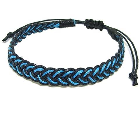 Artisan Asiatique Bracelet Fait Main 100% Ficelle de Coton Couleur Azur Noir