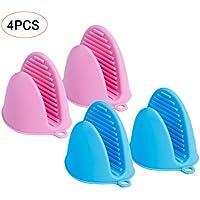 SenPuSi Guantes De Silicona, 4 Piezas Horno Guantes Accesorios Necesarios para La Cocina Panadería Postre Tienda para Hornear Tamaño (Rosa,Azul)