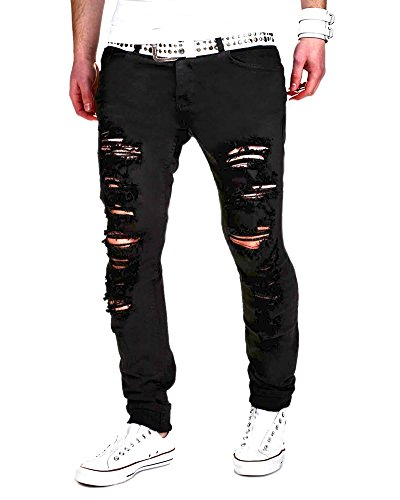 Herren Jeans Hose Destroyed Look Chino Regulär Fit Jeans Hose