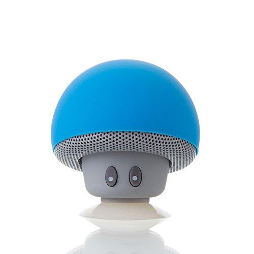 Liamoo Audio Lifestyle Bluetooth 4.1+ Lautsprecher Pilz mit kristallklarem Klang 3,5W tragbar mit Saugnapf in Blau